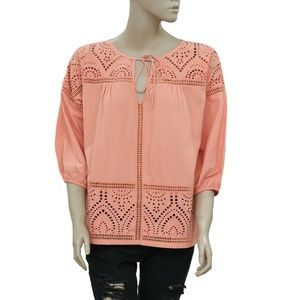 Quebramar Eyelet Embroidered Orange Top M